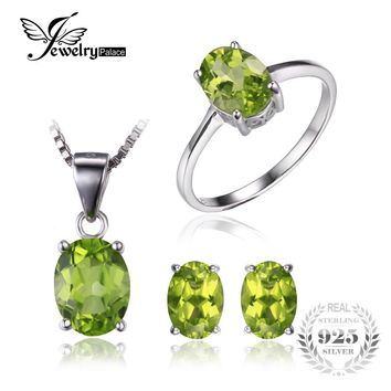 Jewelrypalace Oval 5ct Natural Green Peridot Ring Earrings Pendant Necklace Set 925 Sterling Silver Jewelry Women  Fine Jewelry