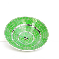Apple green fruit bowl mosaic chic modern unisex gift fresh contemporary art