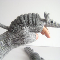 Original Design Cute Armadillos  gloves,long fingerless gloves, costume,  kids, children clothing, gift, birthday, boy, girl