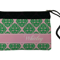 Cosmetic Bag, Wristlet, add matching compact mirror - Pink and Green Damask