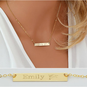 SALE Graduation Gift Necklace, High School Graduation Gift, College Graduation, Gift For Her, Bar Necklace in Gold, Silver, Rose Gold 5x35