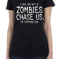 Funny Zombie Chase Custom Design Printed T Shirt in Black for Men or Women in all sizes for your next Walking Dead episode...Free Shipping!!