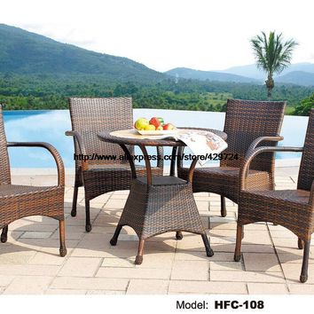 High Back Rattan Chairs 80CM Round Small Table Leisure Swing Pool Garden Furniture Set Hot Sale Factory Direct Sale Furniture