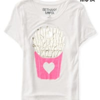 Aeropostale  Womens Fry Love Crop Graphic T-Shirt - White