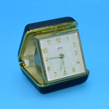 Linden Travel Clock Vintage Winding Travel Alarm Clock Compact Case Windup Gears Glow in the Dark Hands Working Travel Clock Gift for Him