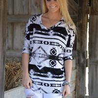 Walk the Line Aztec Top Black