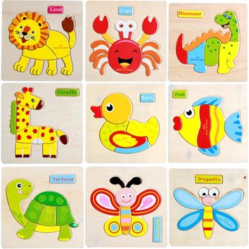 2016 Wooden Cute Animal Dog Cat Elephant Duck Puzzle Jigsaw Early Learning Children Baby Kids Educational Toys PQQ13