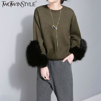 TWOTWINSTYLE Autumn Knitting Pullover Sweater for Women Long Sleeve with Fur Female Sweaters Knitted Tops Casual Clothes Korean