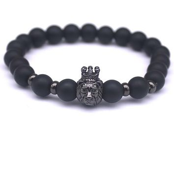 Black Stone Charm Men Bracelet Popular Brand Macrame Badge Pendant Chain Vintage Beads