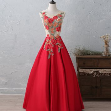 Fashion new red flowers embroidered sexy halter bride wedding wedding dress long wedding dress dinner party dress