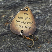 hand stamped fishing lure custom text best gift for boyfriend dad or grandpa christmas gift personalized lure hooked on you