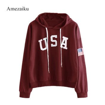 sweatshirt femme imprim Autumn winter Sweatshirts Print USA Flag ropa mujer invierno 2017 Hoodies woman Hooded Tops