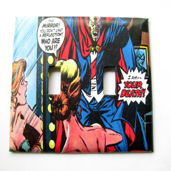 Double Light Switch Cover - Light Switch Plate Vintage Comic Book Art Vampire