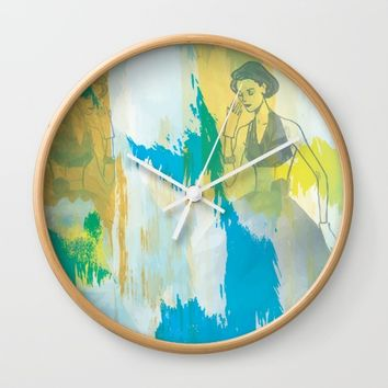 Woman in blue- abstract digital art Wall Clock by SagaciousDesign