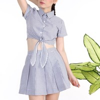 In Stock - BabyGirl 2 Piece Set in White Grid