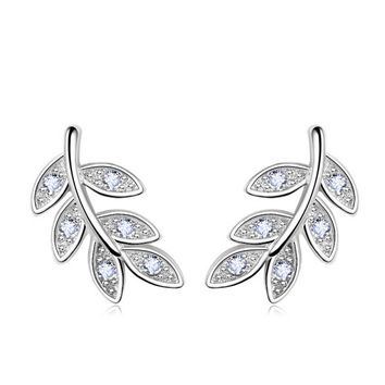 925 Silver Leaf Crystal Stud Earrings +Gift Box