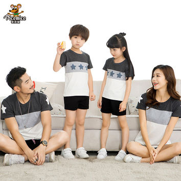 Family Matching Clothes 2017 Summer style Short-sleeve Star T-shirt For Mother Daughter And Father Son Clothes Family Look