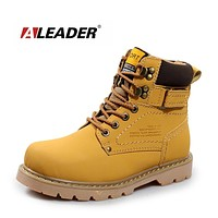 Genuine Leather Mens Ankle Combat Boots Autumn&Winter Outdoo Shoes Men Waterproof Hiking Boots Work Boots For Men