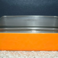 Vintage Glassware-Refrigerator Dish-Orange-1.5 Quart
