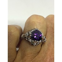 Vintage Handmade Purple CZ and white sapphire 925 Sterling Silver gothic Ring