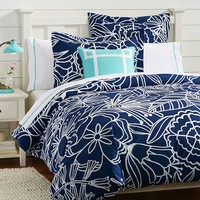 Morgan Floral Duvet Cover + Sham, Royal Navy
