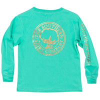 Southern Shirt Youth Foil Print Logo Long Sleeve Tee- Turquoise