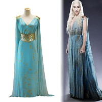 Game of Thrones Daenerys Targaryen Cospaly Dress A Song of Ice and Fire Mother of Dragons Halloween Costumes for Women