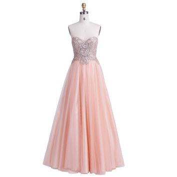 A-Line Prom Dresses New Sexy with Sweetheart Crystal Beading Tulle Ball Gown in Evening Party Dresses