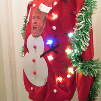 Medium Ugly Christmas Sweater Party Donald Trump Make Christmas Great Again Lights up Hilariously Ugly Contest Winner Ships in 48 hours