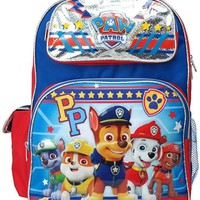 """Nickelodeon Paw Patrol PP TAN-MARSHALL-CHASE 16"""" Canvas Blue School Backpack"""