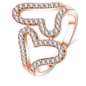 LZESHINE Romantic Double Heart Loving Rings Rose Gold/Silver Plated with AAA Zircon Fine Jewery Ring CRI1027