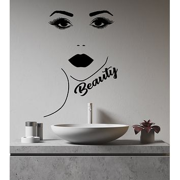 Vinyl Wall Decal Beauty Salon Logo Makeup Girl Face Lips Eyelashes Stickers (3229ig)