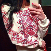 White Ethnic Snowflakes Pattern Long Sleeve Sweatshirt