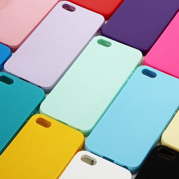 Solid Candy Color TPU Back Cover Case for iPhone 5 Silicone Case for iPhone 5S Soft Gel Rubber Phone Cases for iPhone SE