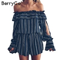 BerryGo Off shoulder ruffle stripe jumpsuit romper Elegant hollow out flare sleeve overalls Summer beach playsuit women outfit