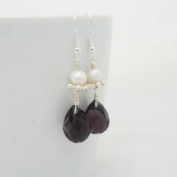 Pearls and Amethyst Tear Drop Earrings, Gemstone Dangle Earrings