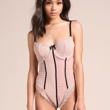 Light Pink Sheer Lace Bustier Lingerie Bodysuit