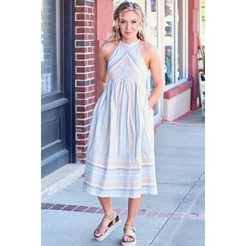 Sunshine Sage Multi-Color Striped Midi Dress