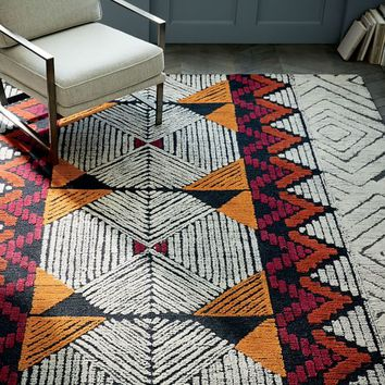 Diamond Motif Wool Rug - Burnt Orange