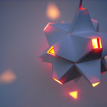 $54.00 Paper Origami Lamp White and Red with 48 sides by KateCallahanDesign
