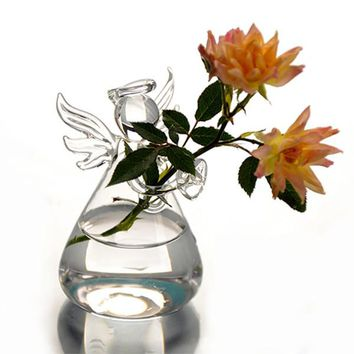 Hot New Cute Clear Glass Vase Creative handmade Angel Shape Flower Plant Vase Hydroponic Home Office Wedding Decor