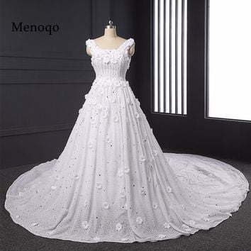 Vestido De Noiva Luxury Real Photo Ball gown Beaded Hand made Flowers High quality Lace Wedding Dresses 2017 Bridal Gowns