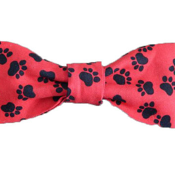 100% Cotton Bow Tie for Dogs - Candy Apple Red w/Black Paw Prints