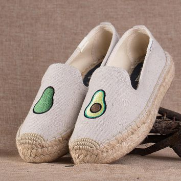 Soludos Avocado  Platform Smoking Embroidery Slipper Thick-bottomed Beige - Best Deal Online