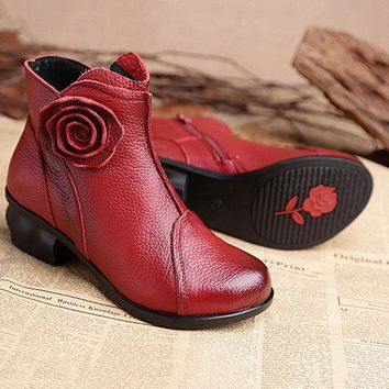 Flower Leather Pure Color Vintage Flat Ankle Boots