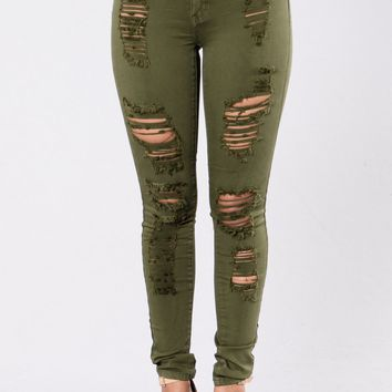 Havin It Skinny Jean - Olive