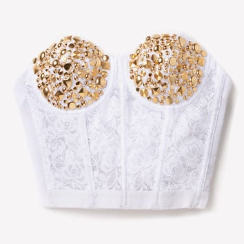 Gold Studded Lace Bustier - White