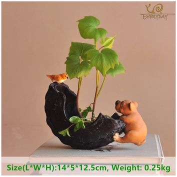Everyday Collection cartoon dog planter pots green Succulent pot for flowers office desktop bonsai school student flowerpot gift