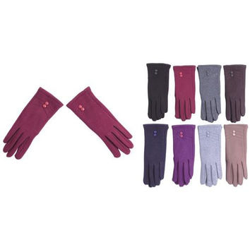 Women's Fleece Gloves with Studded Adornment