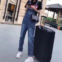 """Louis Vutitton × Supreme"" Women Casual Fashion Letter Logo Denim Sleeveless Back Strap Pants Romper Jumpsuit Jeans Trousers"